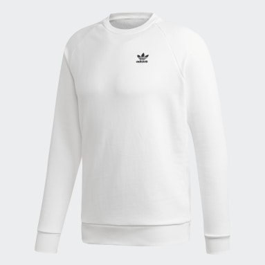 Men Originals White LOUNGEWEAR Trefoil Essentials Crewneck Sweatshirt