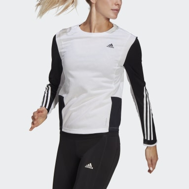 Women's Running White Own The Run 3-Stripes Running Tee
