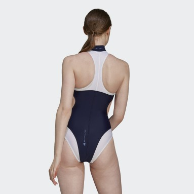 Women adidas by Stella McCartney Blue adidas by Stella McCartney TruePurpose High Neck Swimsuit