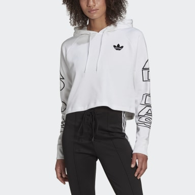Sweat-shirt à capuche Cropped Letter Blanc Femmes Originals