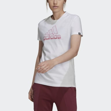 Women's Essentials White Snowflake Pearlescent Graphic Tee
