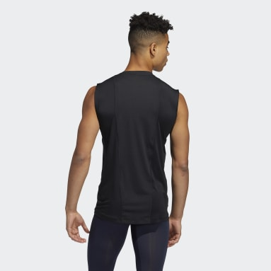 Männer Running Techfit Sleeveless Fitted T-Shirt Schwarz