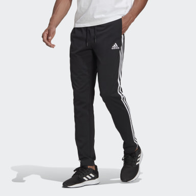 Men Sport Inspired Black Essentials Single Jersey Tapered Open Hem 3-Stripes Pants