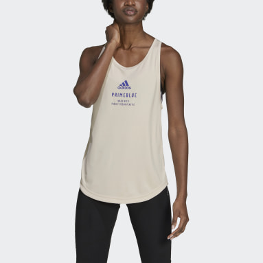Women Running Beige Run for the Oceans Graphic Tank Top