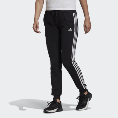 Women Sport Inspired Black Essentials Single Jersey 3-Stripes Pants