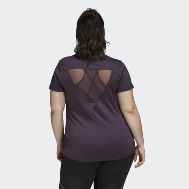 Glam On Badge of Sport Logo Tee (Plus Size) Fioletowy