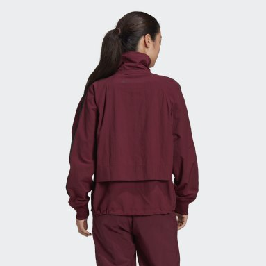 Dam adidas by Stella McCartney Burgundy adidas by Stella McCartney Full-Zip Woven Track Top