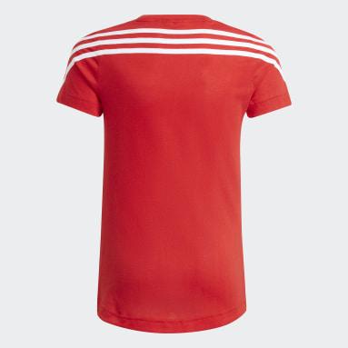 Meisjes Fitness En Training Rood 3-Stripes Graphic T-shirt