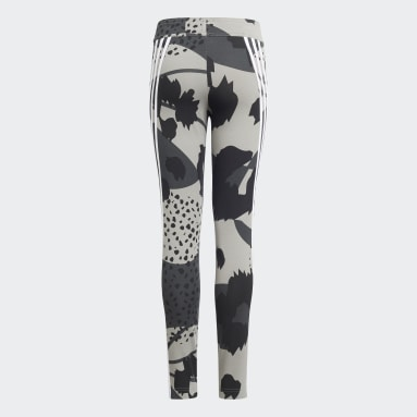 Girls Training Grey Future Icons Sport Cotton 3-Stripes Wild Shapes Allover-Print Tights