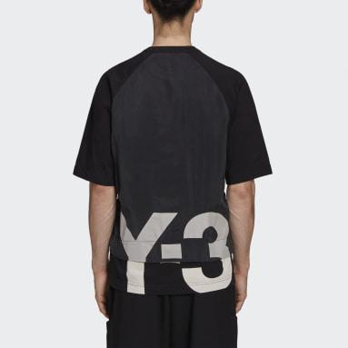 Erkek Y-3 Siyah Y-3 CH3 Raw Jersey Graphic Short Sleeve Logo Tişört