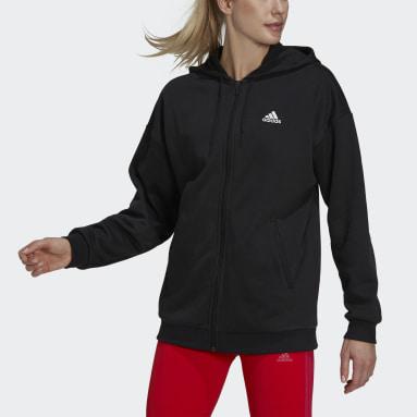 Women Sport Inspired Black Essentials Small Logo Full-Zip Hoodie