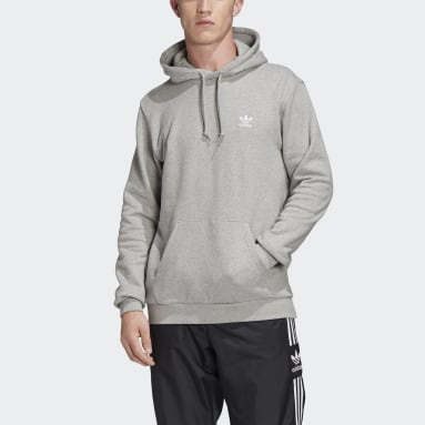 Men Originals Grey LOUNGEWEAR Trefoil Essentials Hoodie
