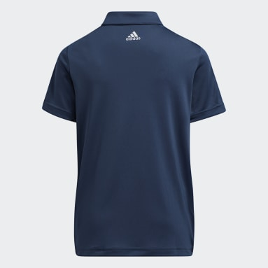 Youth 8-16 Years Golf Blue 3-Stripes Polo Shirt