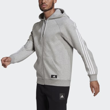 Men's Sportswear Grey adidas Sportswear 3-Stripes Hooded Track Top