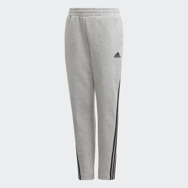 Boys Fitness Og Træning Grå 3-Stripes Doubleknit Tapered Leg bukser