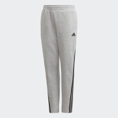 Boys Gym & Training Grey 3-Stripes Doubleknit Tapered Leg Tracksuit Bottoms