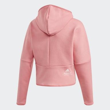 Dievčatá Sportswear ružová Mikina skapucňou adidas Z.N.E. Loose Full-Zip