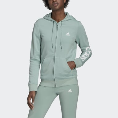 Women Sportswear Green Essentials Logo Full-Zip Hoodie
