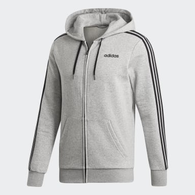 Men Gym & Training Grey Essentials 3-Stripes Fleece Hoodie