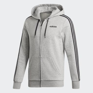 Hoodie Essentials 3-Stripes Fleece Grigio Uomo Fitness & Training