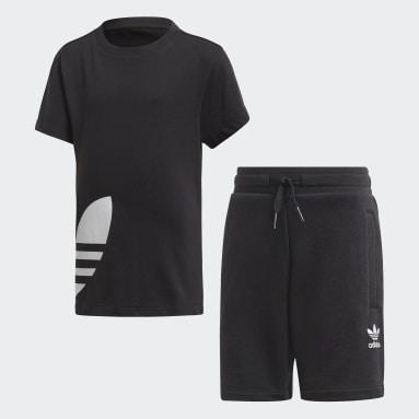 Kids Originals Black Big Trefoil Shorts Tee Set