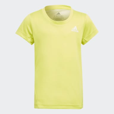 Youth 8-16 Years Gym & Training Yellow AEROREADY 3-Stripes T-Shirt
