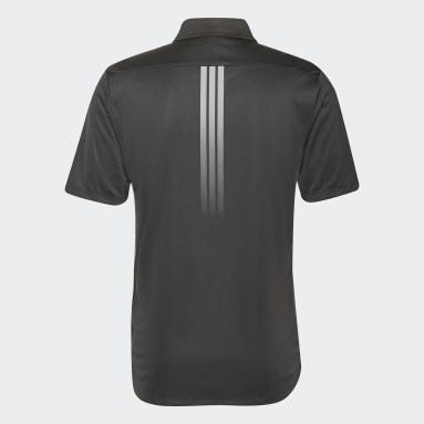Men Golf Black Solid 3-Stripes Polo Shirt