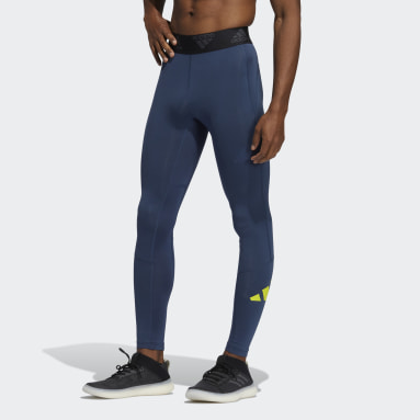 Men Running Blue Techfit Long Tights