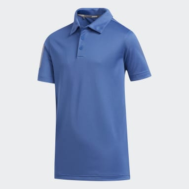 Youth Golf Blue 3-Stripes Polo Shirt