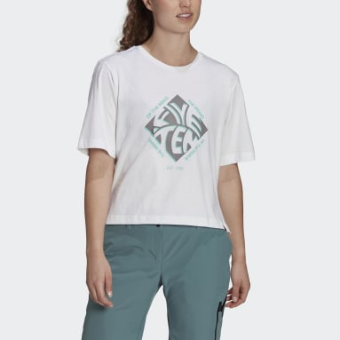 Women's Five Ten White Five Ten Cropped Graphic Tee