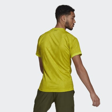 Playera de Tenis Freelift Primeblue Estampada Amarillo Hombre Tennis