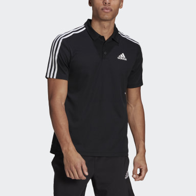 Men Gym & Training Black Primeblue Designed To Move Sport 3-Stripes Polo Shirt