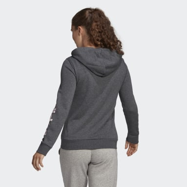 Women Sportswear Grey Essentials Logo Full-Zip Hoodie