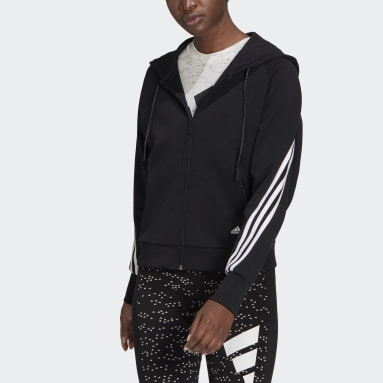 adidas Sportswear Wrapped 3-Stripes Full-Zip Hettegenser Svart