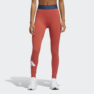 Women Training Red Techfit Life Mid-Rise Badge of Sport Long Tights