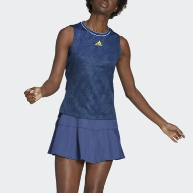 Frauen Tennis Tennis Primeblue Printed Match Sleeveless Shirt Blau