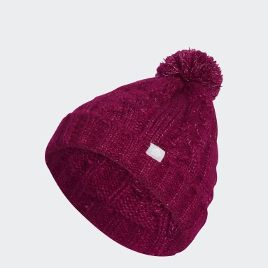 Women Golf Burgundy Golf Pompom Beanie