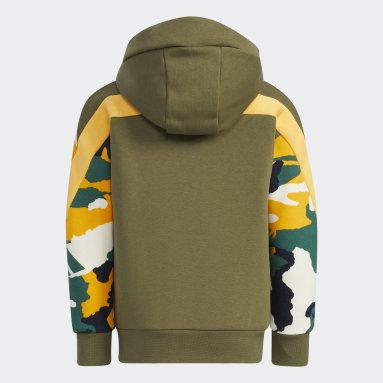 Fleece Hooded Jacket Zielony