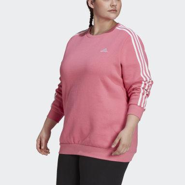 Women Sportswear Pink Essentials 3-Stripes Fleece Sweatshirt (Plus Size)