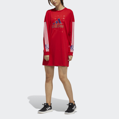 Women Sportswear Red LNY Sweatshirt Dress