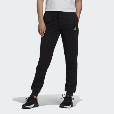 Women Sport Inspired Black Essentials French Terry Logo Pants