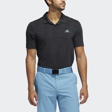 Men Golf Black Mesh Broken-Stripe Polo Shirt