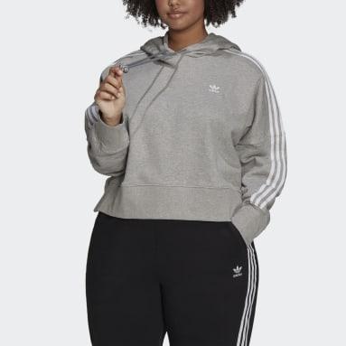 Women's Originals Grey Adicolor Classics Cropped Hoodie (Plus Size)