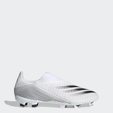 Football White X Ghosted.3 Laceless Firm Ground Boots