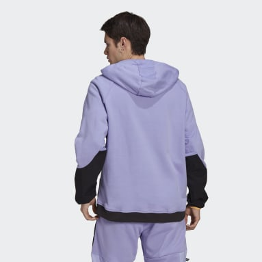 Men Originals Purple adidas Adventure Colorblock Mixed Material Half Zip Sweat Hoodie