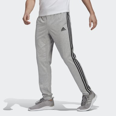 Men Sport Inspired Grey Essentials Single Jersey Tapered Open Hem 3-Stripes Pants