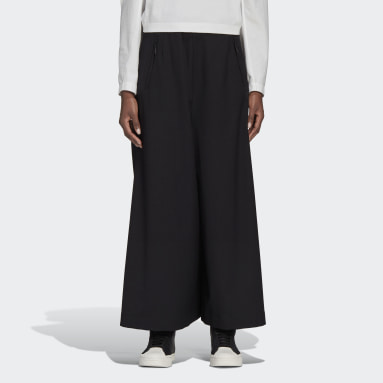 Women Y-3 Black Y-3 Classic Refined Wool Cropped Wide Leg Pants