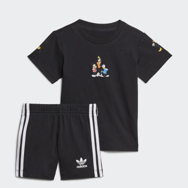 Boys Originals Black Disney Mickey and Friends Shorts and Tee Set