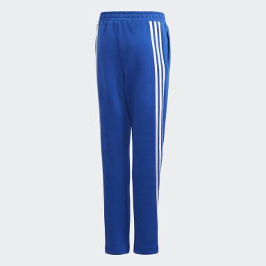 Boys Gym & Training Blue 3-Stripes Doubleknit Tapered Leg Pants