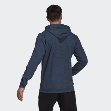 Men Sportswear Blue Essentials Mélange Embroidered Small Logo Hoodie